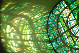 Stained Glass Window with reflection of Light