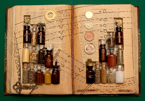 ancient book with inside bottles