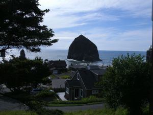 Haystack Basalt monolith, Oregon coastline; photo by Robin Morlock